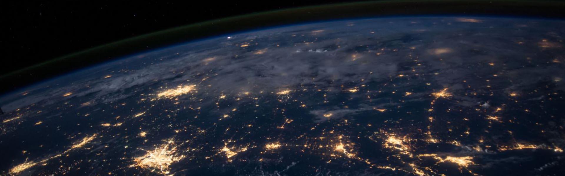 Vista do espaço do planeta terra dados rgpd