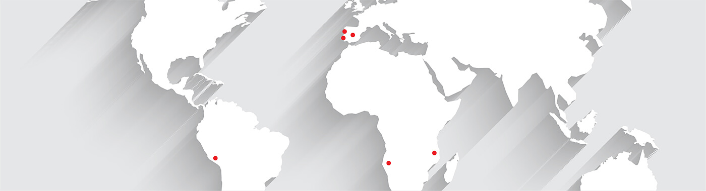 Mapa mundi com as localizações onde está presente a PHC Software